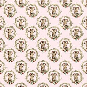 "1.5"" Floral Cow - Light Pink"
