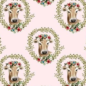 "4"" Floral Cow - Light Pink"