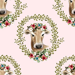 "8"" Floral Cow - Light Pink"