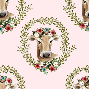 "18"" Floral Cow - Light Pink"