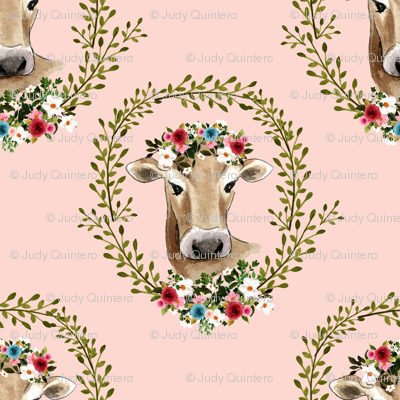 "1.5"" Floral Cow - Peachy Pink"