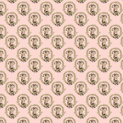 "1.5"" Floral Cow - Peachy Pink fabric by shopcabin on Spoonflower - custom fabric"