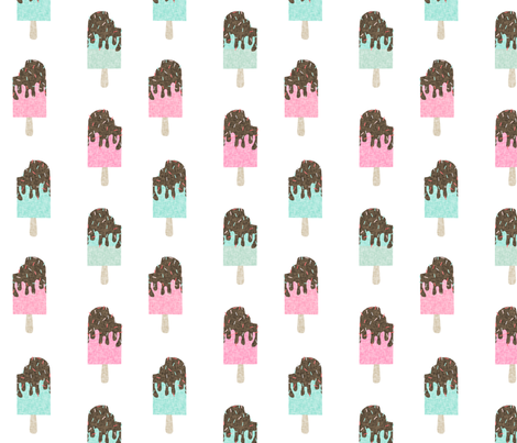 popsicle chocolate summer food mint pink fabric by charlottewinter on Spoonflower - custom fabric