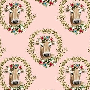 "4"" Floral Cow - Peachy Pink"