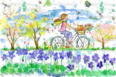 Lily and Tulip biking