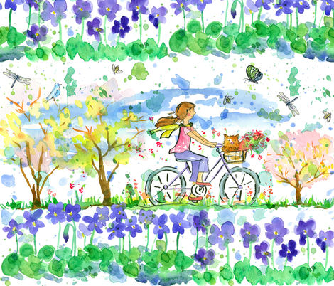 Lily and Tulip biking  fabric by countrygarden on Spoonflower - custom fabric