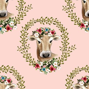 "8"" Floral Cow - Peachy Pink"