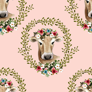 "18"" Floral Cow - Peachy Pink"