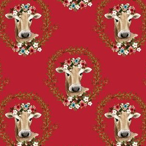 "4"" Floral Cow - Red"
