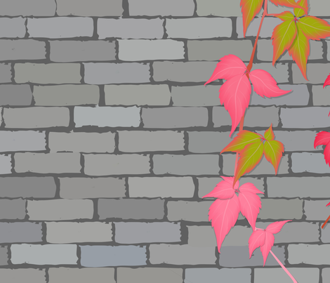 brick wall with climbing plant on it fabric by svetlankap on Spoonflower - custom fabric