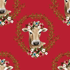 "8"" Floral Cow - Red"