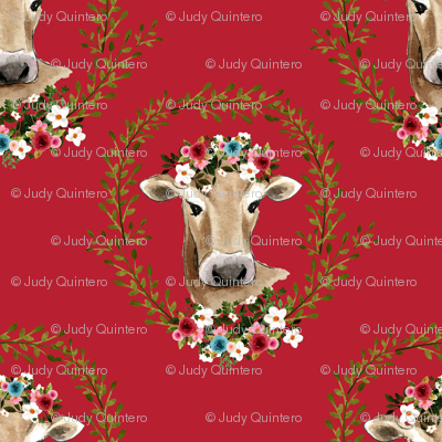 "18"" Floral Cow - Red"