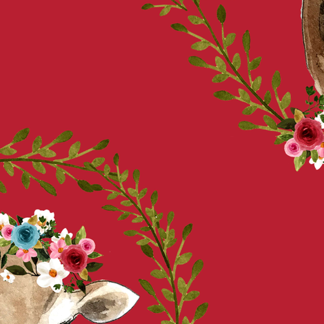"18"" Floral Cow - Red fabric by shopcabin on Spoonflower - custom fabric"