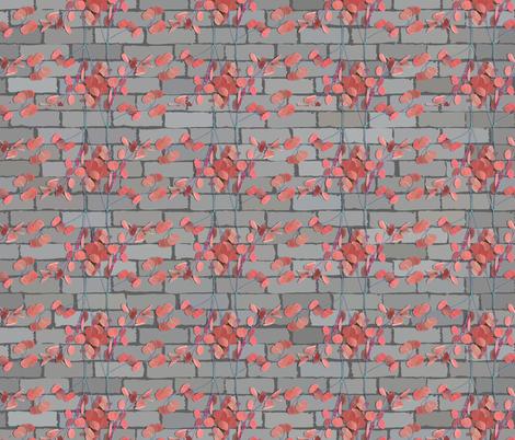 climbing plant on brick wall fabric by svetlankap on Spoonflower - custom fabric