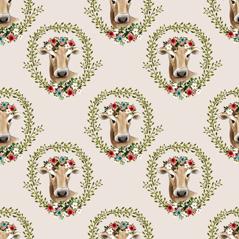 "4"" Floral Cow - Taupe fabric by shopcabin on Spoonflower - custom fabric"