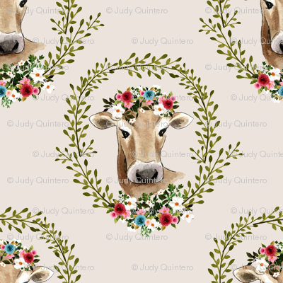 """8"""" Floral Cow - Taupe"""