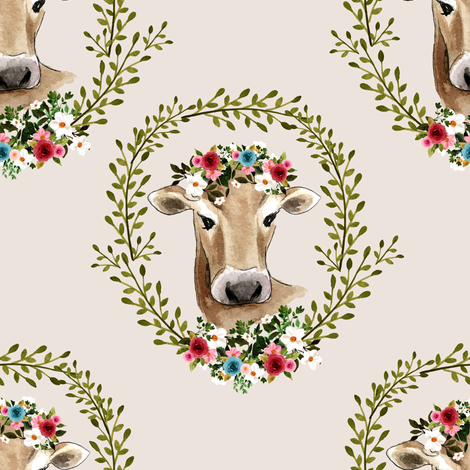 """8"""" Floral Cow - Taupe fabric by shopcabin on Spoonflower - custom fabric"""