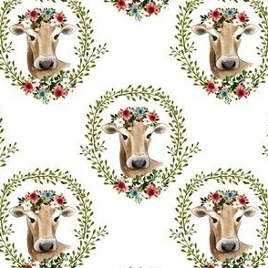 "4"" Floral Cow - White"