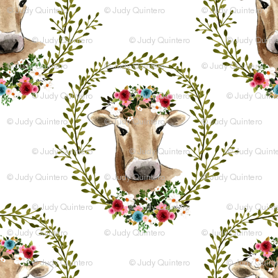 """8"""" Floral Cow - White"""