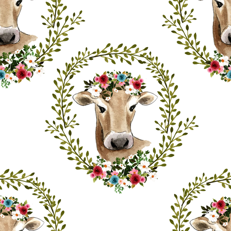 """8"""" Floral Cow - White fabric by shopcabin on Spoonflower - custom fabric"""