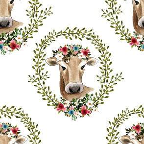 "18"" Floral Cow - White"