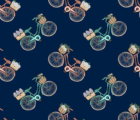 Bon Jour Botanical Baskets on Bicycles fabric by irishvikingdesigns on Spoonflower - custom fabric