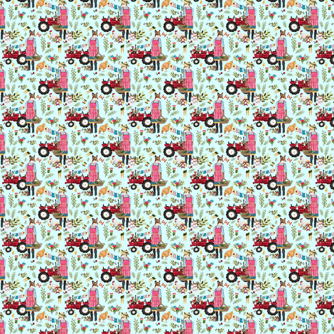 "1.5"" Floral Farm Life - Blue fabric by shopcabin on Spoonflower - custom fabric"