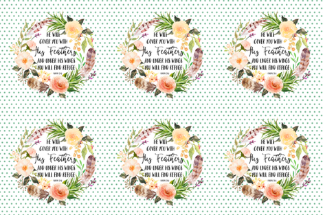 """18""""x18"""" -  6 to 1 Yard of Minky He Will Cover You Quote fabric by shopcabin on Spoonflower - custom fabric"""