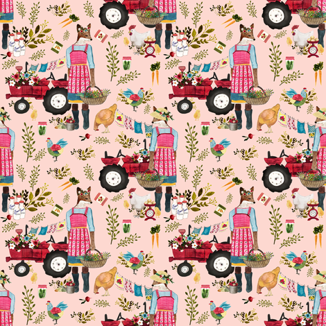 "4"" Floral Farm Life - Peachy Pink fabric by shopcabin on Spoonflower - custom fabric"