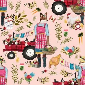 "8"" Floral Farm Life - Peachy Pink"