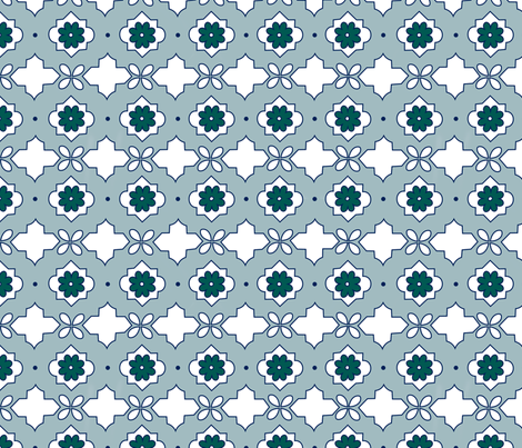 Moroccan Tiles in Sea Glass fabric by acacia7 on Spoonflower - custom fabric