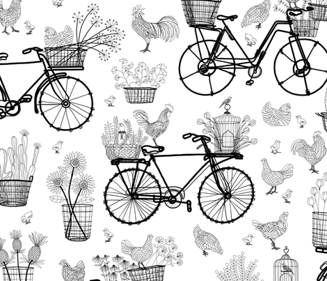 Bicycles for Africa 24x24 fabric by stitchyrichie on Spoonflower - custom fabric