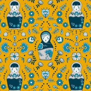 dolls & flowers // yellow-blue // little matryoshka collection
