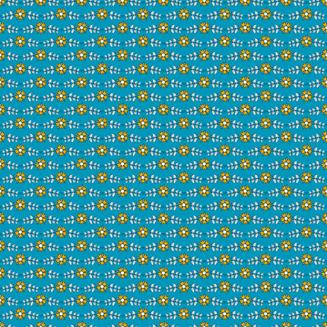 ditsy flowers // blue // little matryoshka collection fabric by modeern on Spoonflower - custom fabric