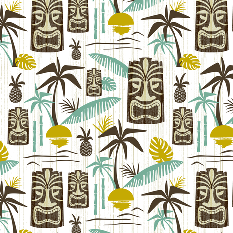 Island Tiki - White Medium Scale fabric by heatherdutton on Spoonflower - custom fabric