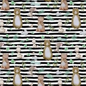 "4"" Hello Forest Animals - Black & White Stripes"