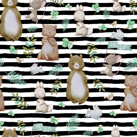 "8"" Hello Forest Animals - Black & White Stripes fabric by shopcabin on Spoonflower - custom fabric"