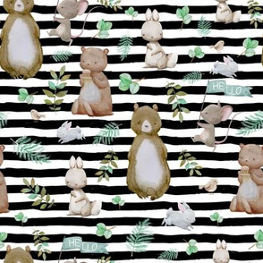 "8"" Hello Forest Animals - Black & White Stripes"