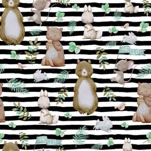"36"" Hello Forest Animals - Black & White Stripes"