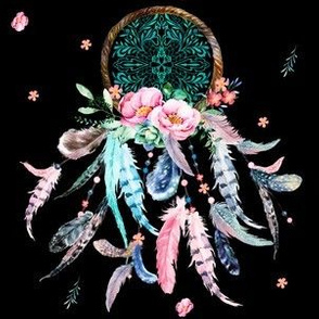 "6"" Aqua Pink Dream Catcher Black Background"