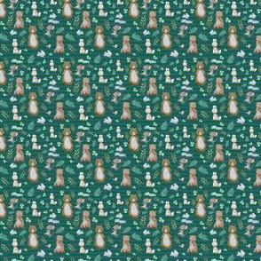 "1.5"" Hello Forest Animals - Bright Green & Blue Stripes"
