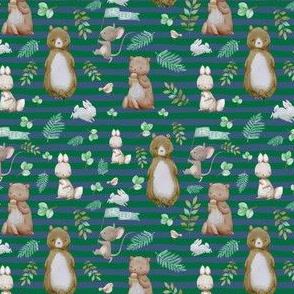 "4"" Hello Forest Animals - Bright Green & Blue Stripes"