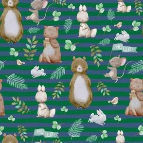 "8"" Hello Forest Animals - Bright Green & Blue Stripes"