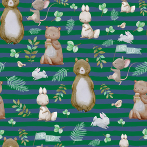 "36"" Hello Forest Animals - Bright Green & Blue Stripes"
