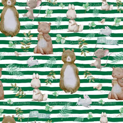 "4"" Hello Forest Animals - Bright Green"
