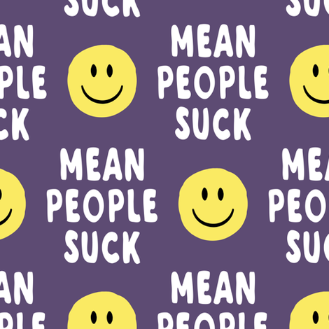 mean people suck - dark purple vertical fabric by littlearrowdesign on Spoonflower - custom fabric