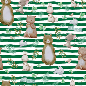 "36"" Hello Forest Animals - Bright Green"