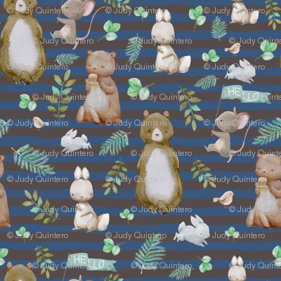 "1.5"" Hello Forest Animals - Dark Blue & Tan Stripes"