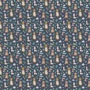 """1.5"""" Hello Forest Animals - Dark Blue & Tan Stripes"""
