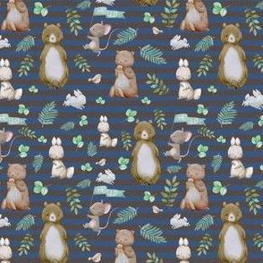"""4"""" Hello Forest Animals - Dark Blue & Tan Stripes"""